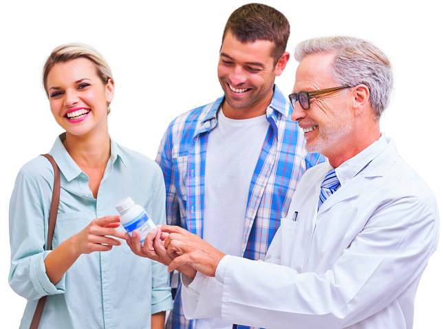 a pharmacist and his patients smiling