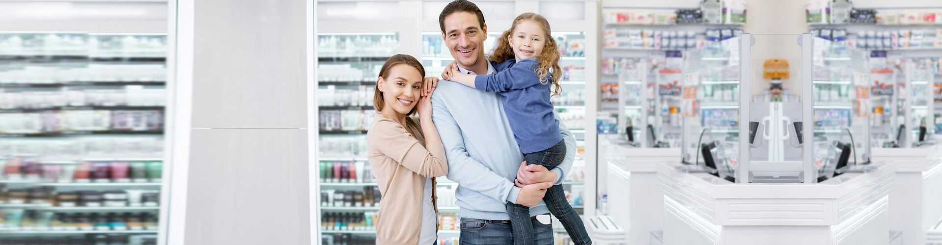 a family in a pharmacy